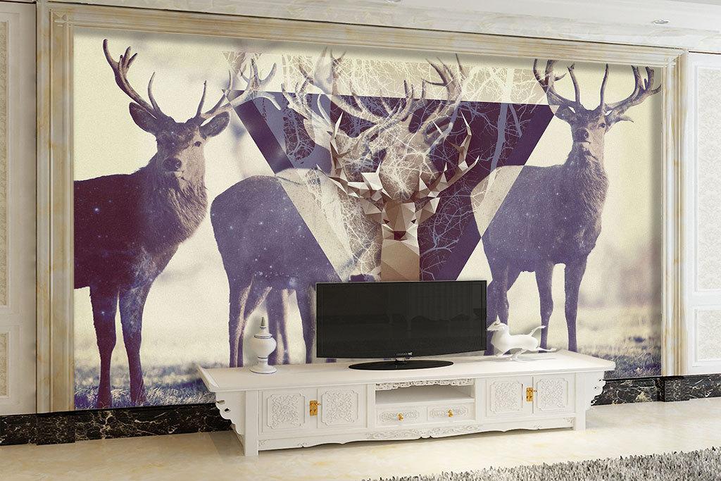 手绘北欧麋鹿背景墙