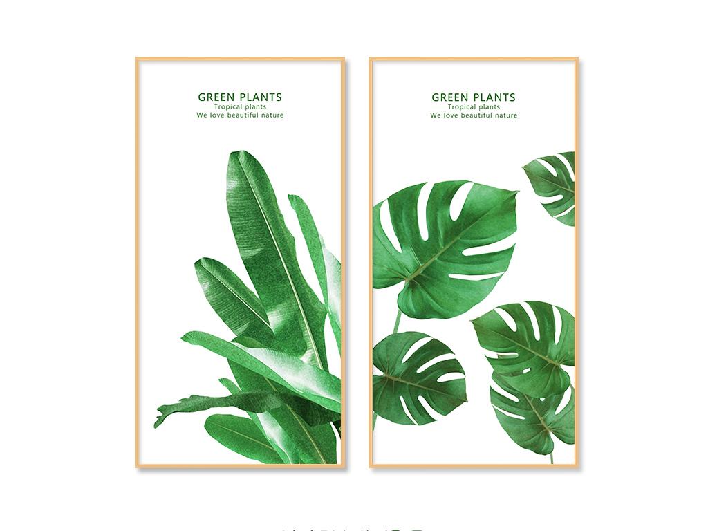 北欧清新热带植物龟背叶绿色叶子装饰画图片