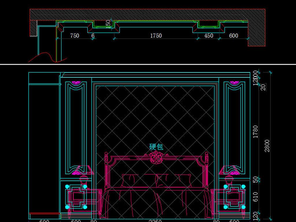 木固装家具展厅美式风格设计cad施工图