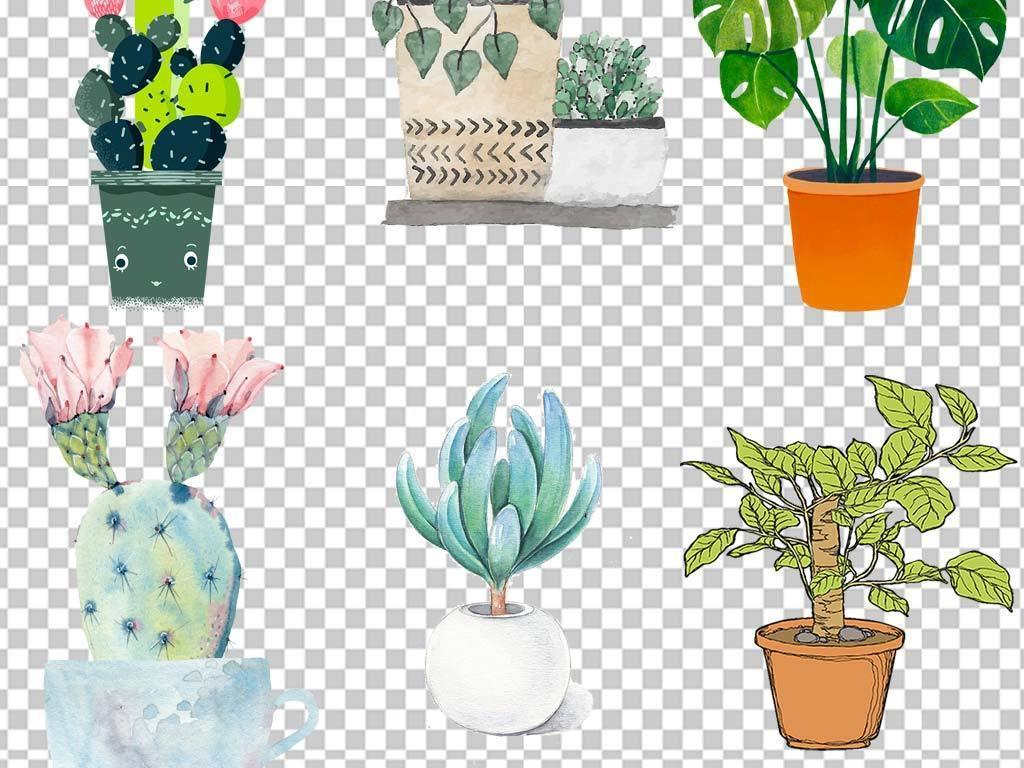 50余款小清新阳台手绘多肉植物png素材