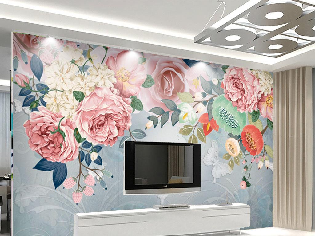 北欧简约风格水彩手绘花卉电视背景墙壁画墙纸