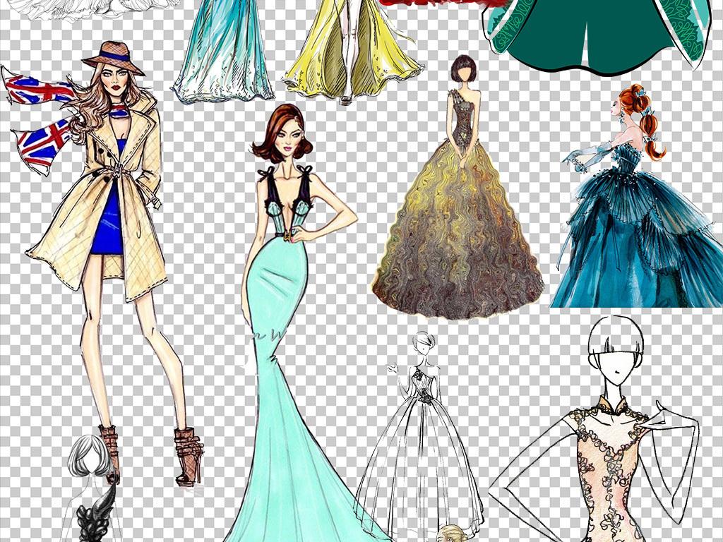 设计元素 人物形象 美女 > 手绘晚礼服模特png透明背景免扣素材  手绘