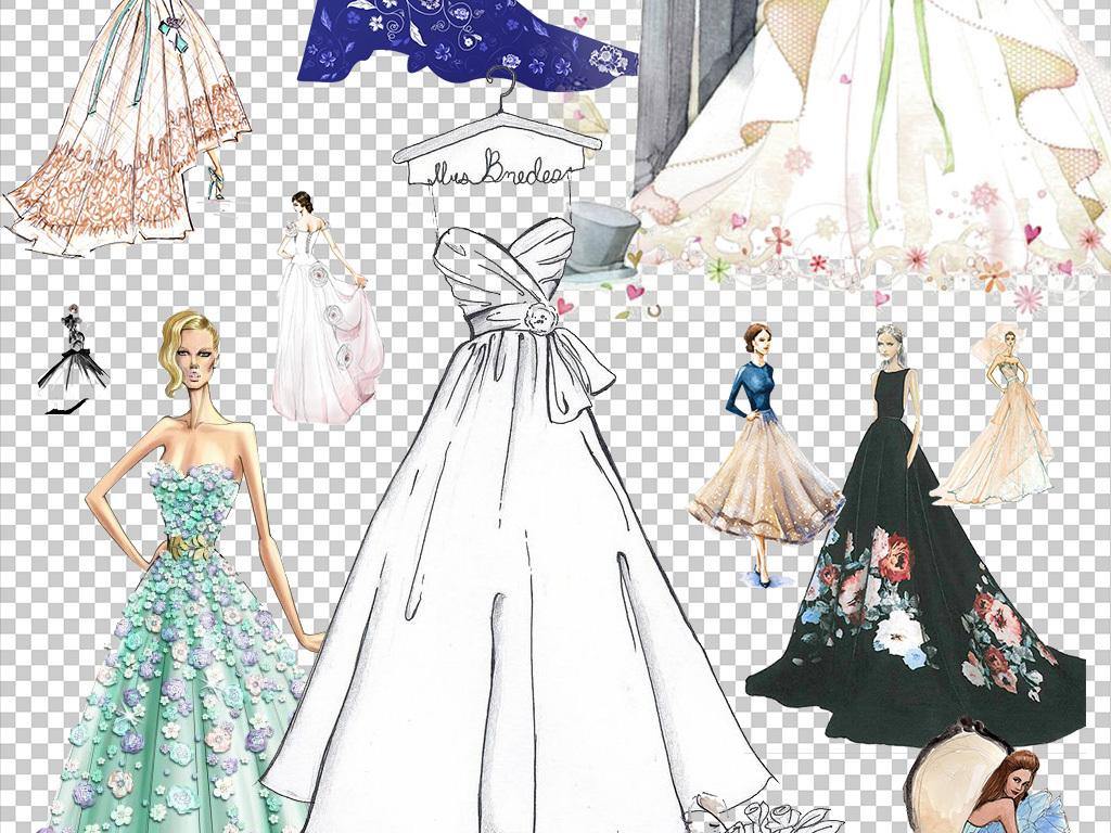 手绘晚礼服模特PNG透明背景免扣素材图片下载png素材 美女图片
