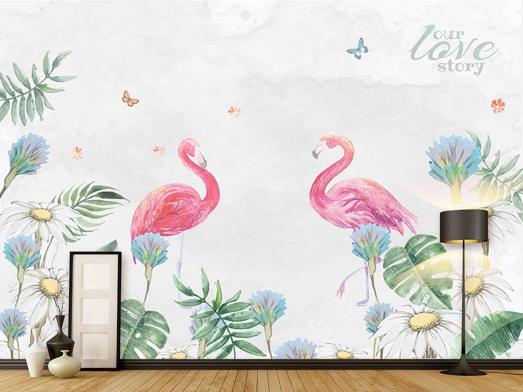 北欧手绘热带植物火烈鸟沙发电视背景墙