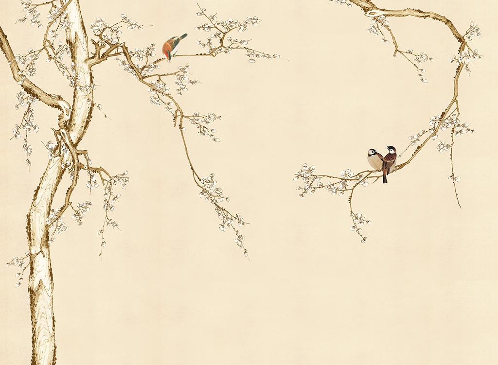 手绘新中式梅花工笔画花鸟软包背景墙装饰画图片