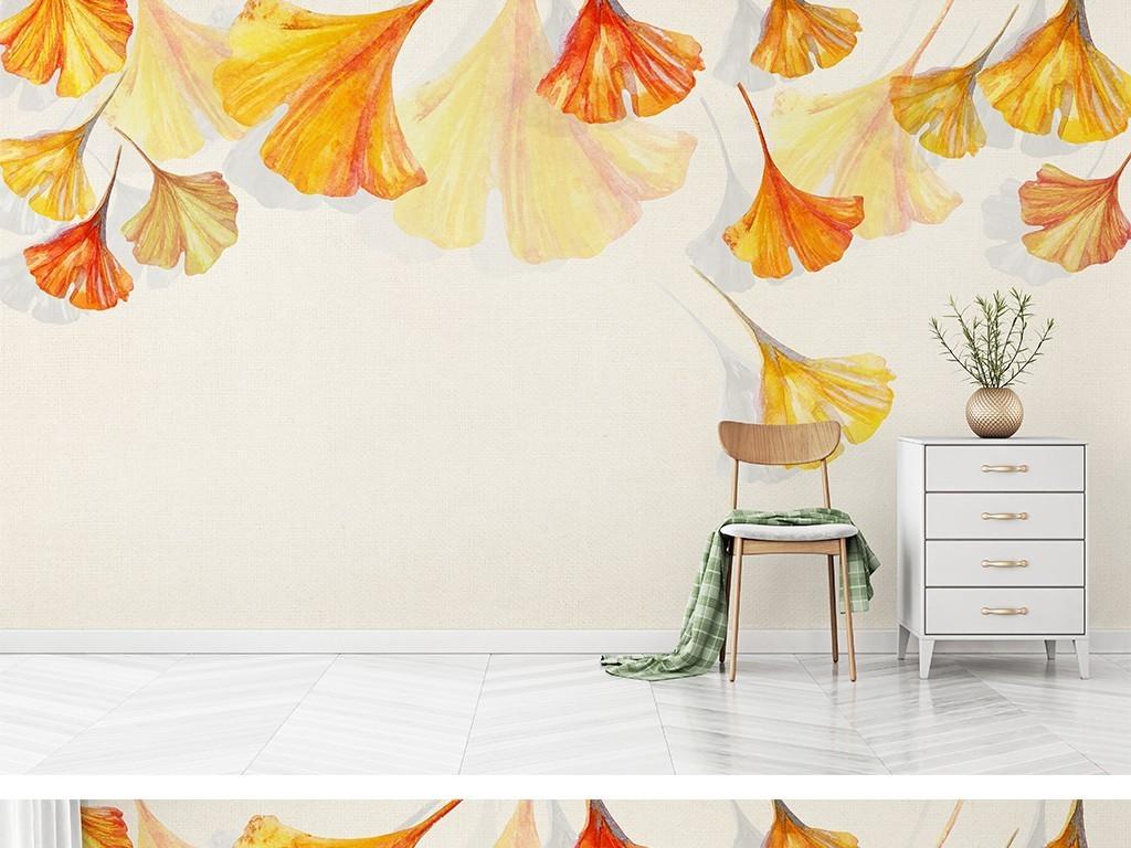 简约水彩银杏叶手绘背景墙
