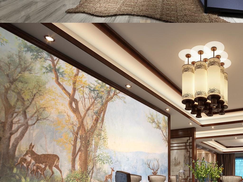 背景墙 电视背景墙 手绘电视背景墙 > 复古手绘森林鹿风景  素材图片