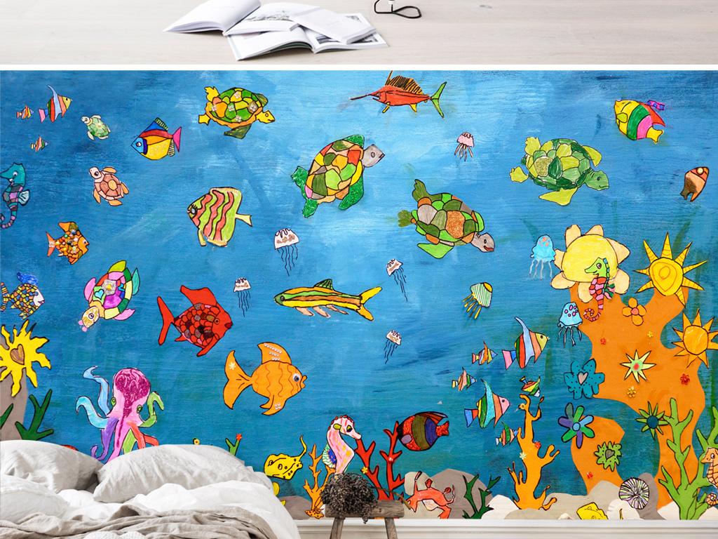 手绘海底世界海龟章鱼水母儿童房壁画背景墙