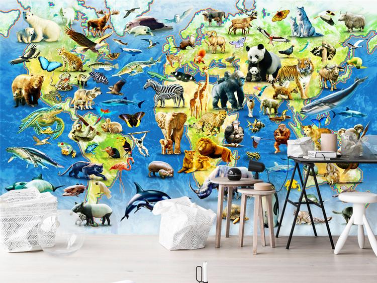 动物世界地图儿童房背景墙幼儿园工程壁画