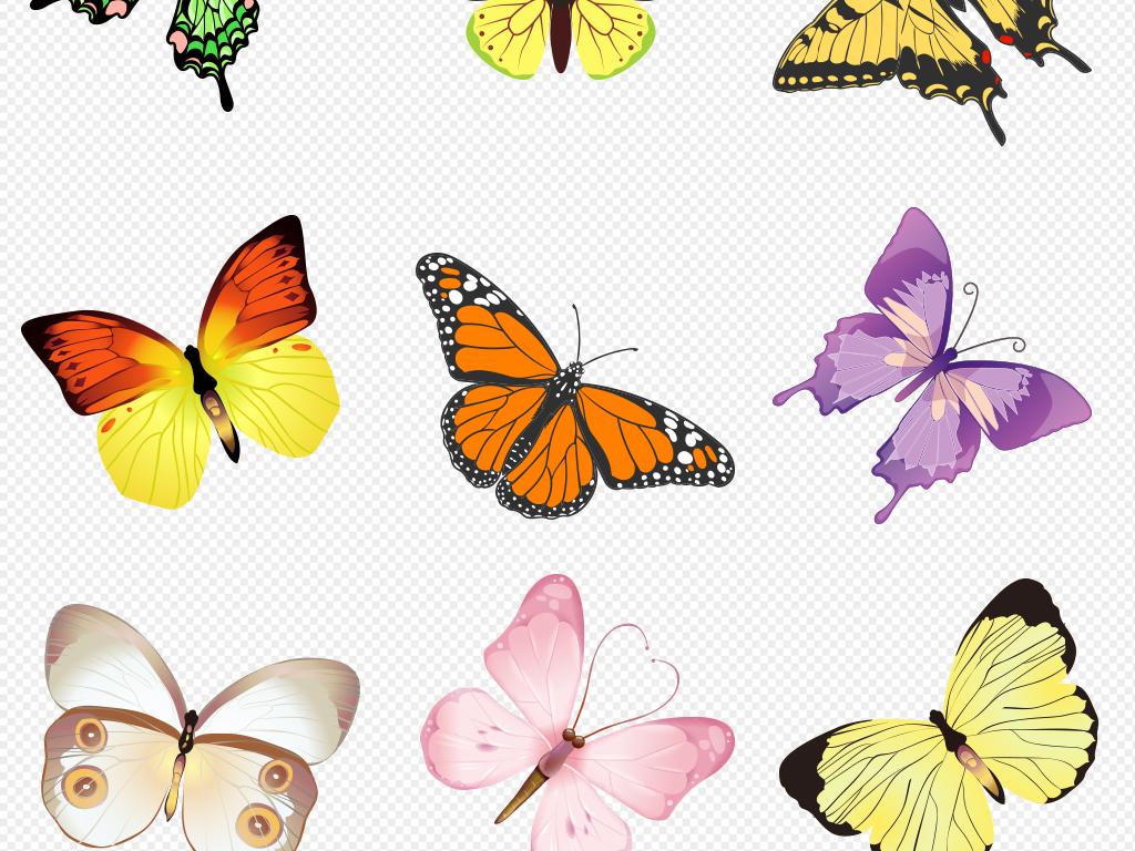 水墨蝴蝶彩色蝴蝶手绘蝴蝶黑白免抠png图片下载png素材 效果素材
