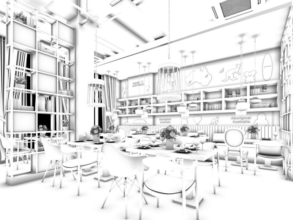 茶楼手绘效果图图片