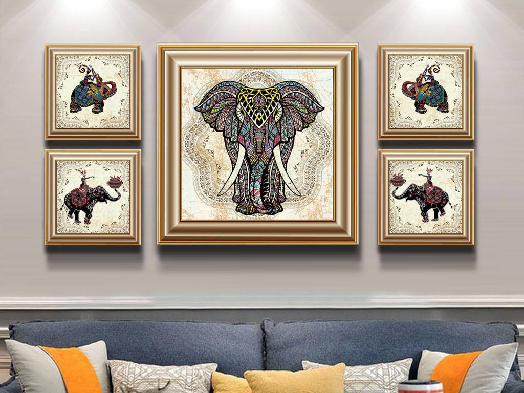 复古手绘民族风手绘抽象大象五联装饰组画