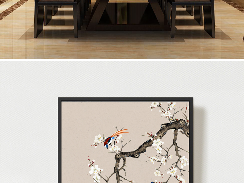 新中式工笔手绘花鸟山水玄关背景墙挂画