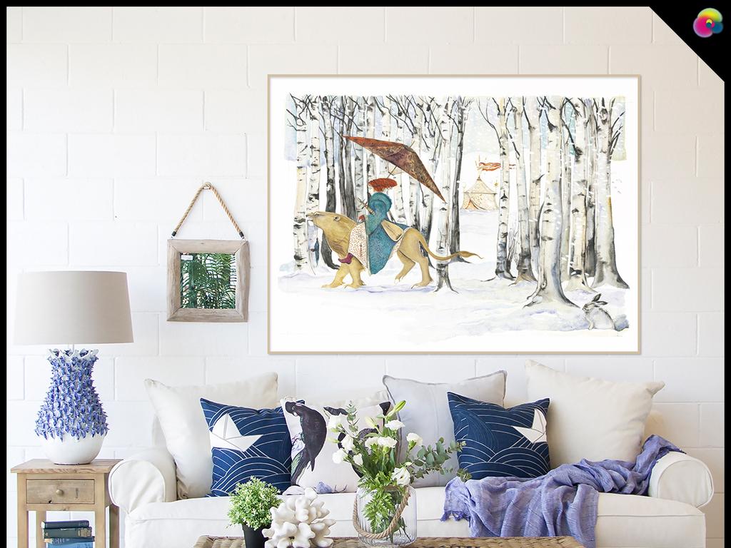 手绘卡通树林动物背景墙装饰画