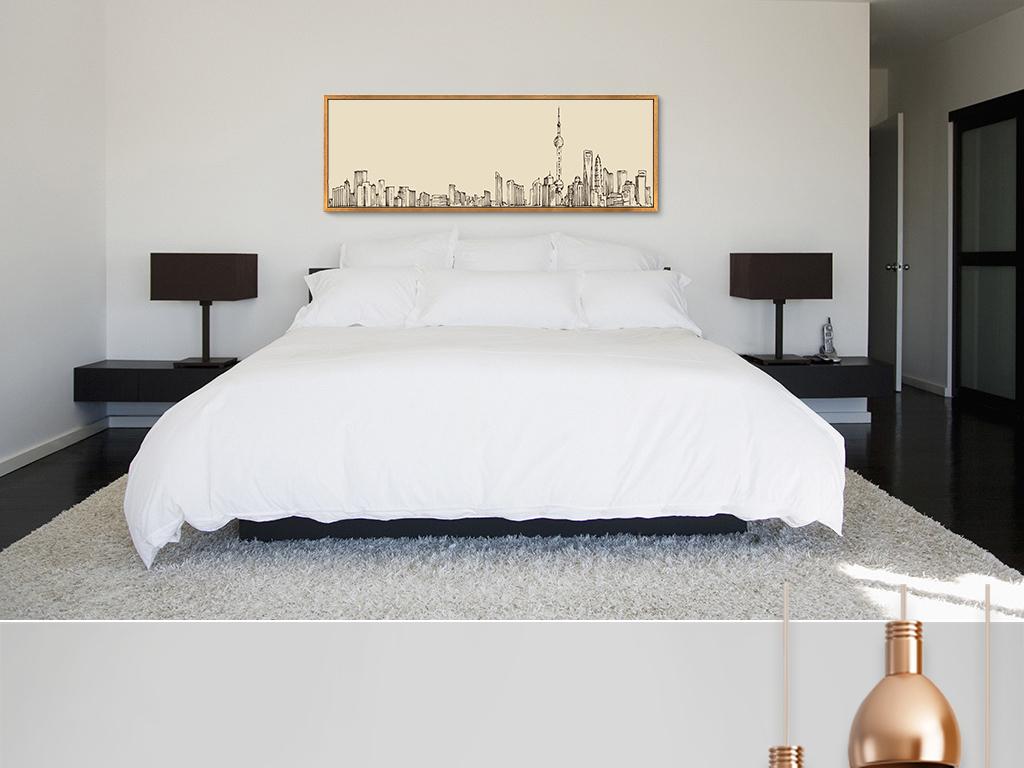 抽象素描建筑装饰画卧室床头壁画客厅背景画