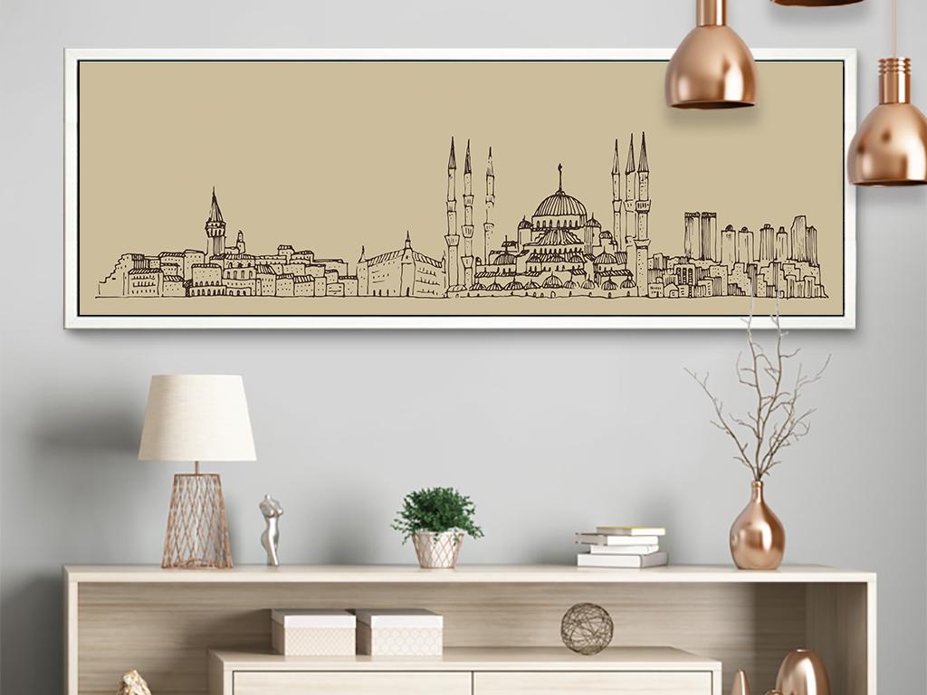抽象素描建筑装饰画卧室床头壁画横幅背景画