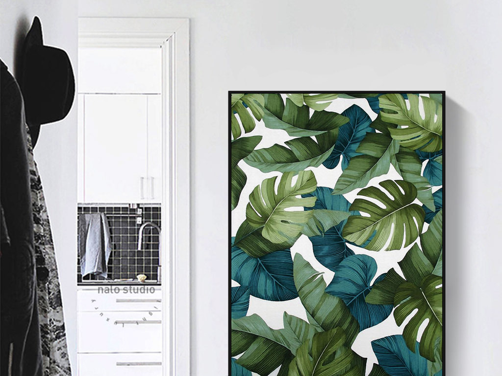 芭蕉叶树叶北欧抽象复古怀旧欧式家居装饰画