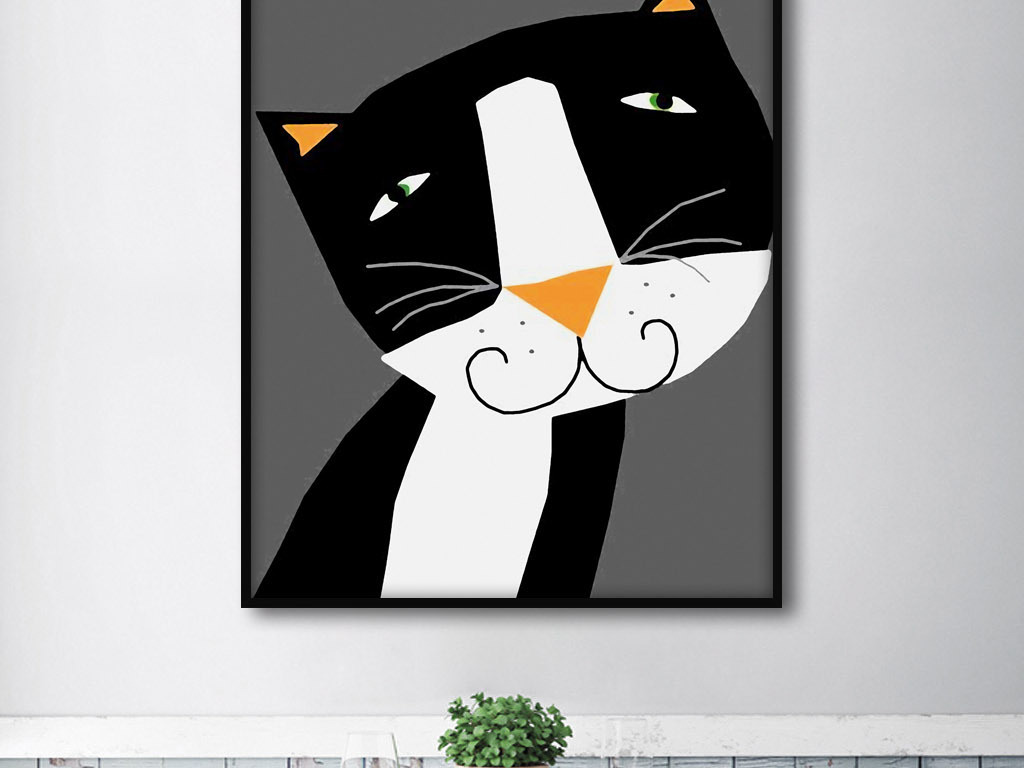 猫和月亮北欧抽象简约创意手绘家居装饰画
