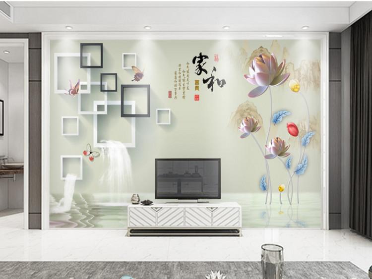 家和富贵3d立体方框水中荷花背景墙