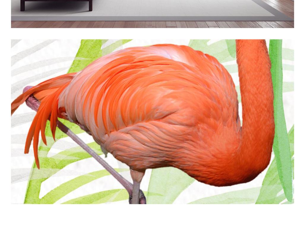 唯美意境简约手绘火烈鸟装饰画无框画