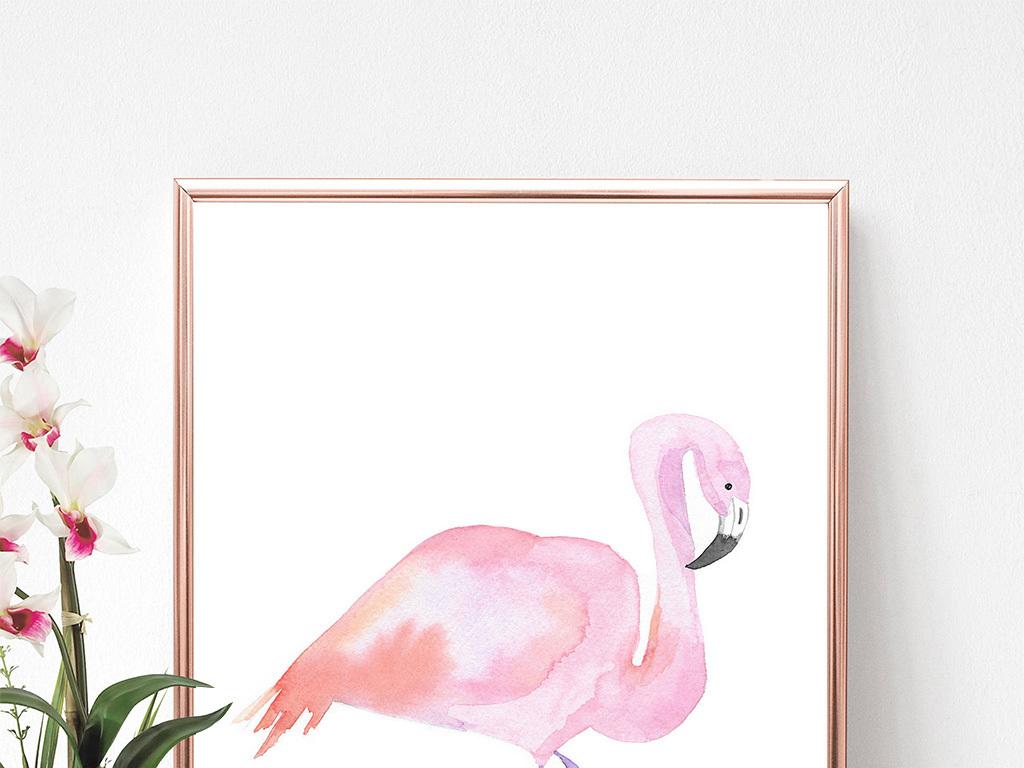 背景墙|装饰画 无框画 动物图案无框画 > 粉红色火烈鸟动物水彩装饰画
