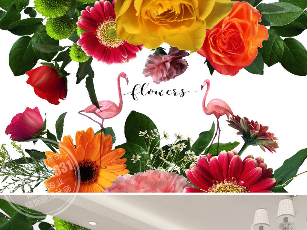 北欧风格手绘热带植物花卉英文火烈鸟背景墙