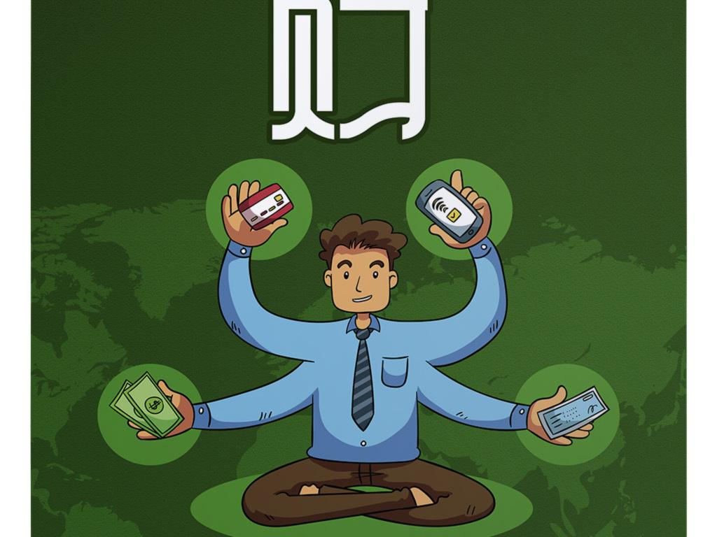 理财玩转金融生活创意手机银行手绘插画海报
