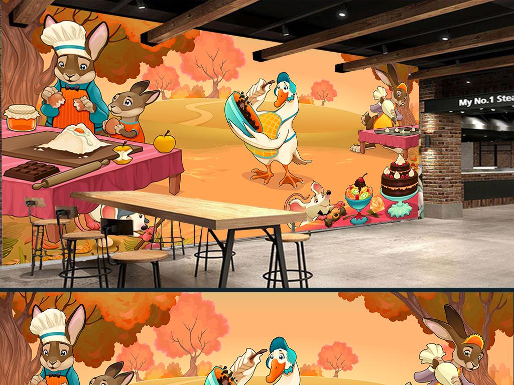 手绘卡通亲子烘焙甜品店蛋糕店工装背景墙