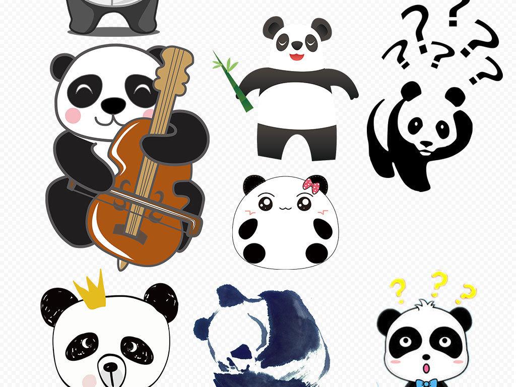 可爱卡通手绘熊猫背景png元素素材