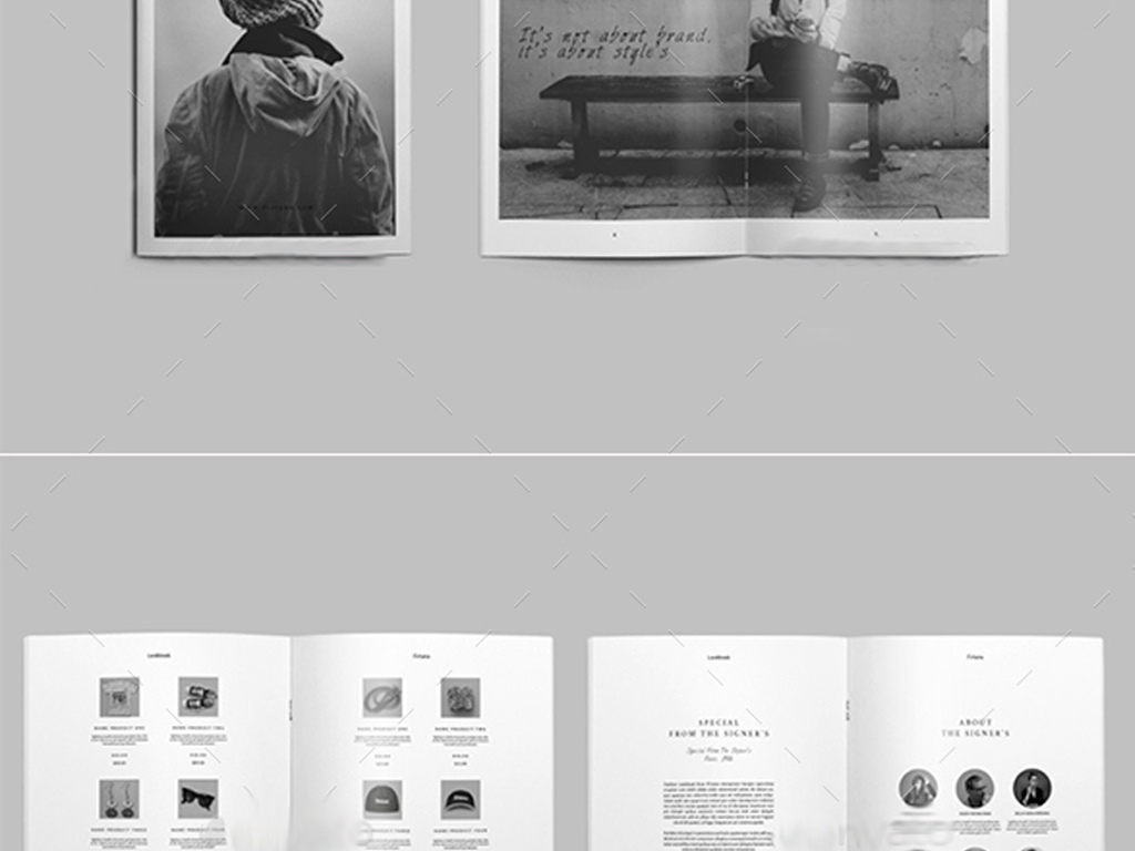 简约作品集产品目录画册psd id模板图片