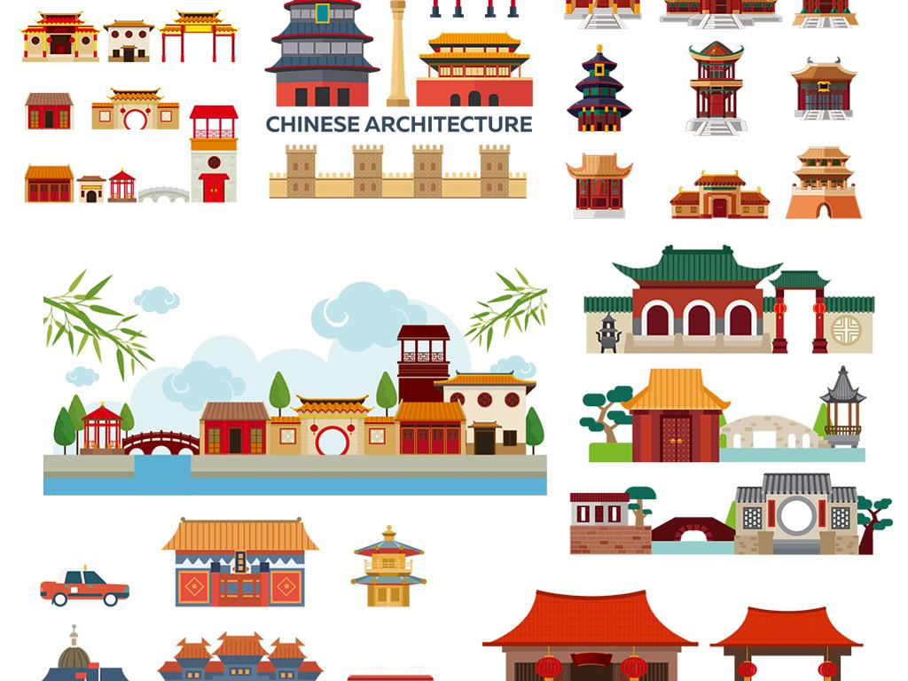 卡通扁平化中国风格古代日本小镇建筑素材