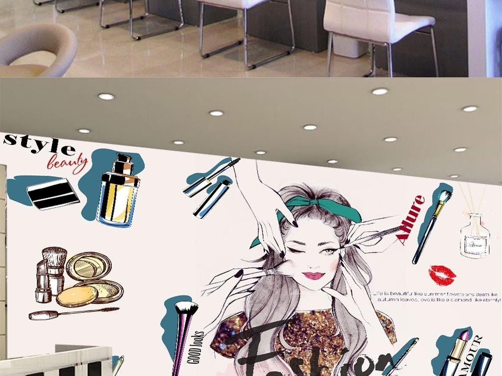 欧美手绘化妆品美甲店彩妆店背景墙美容墙纸