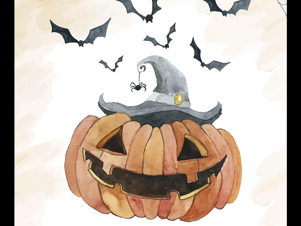 手绘万圣节女巫创意促销海报