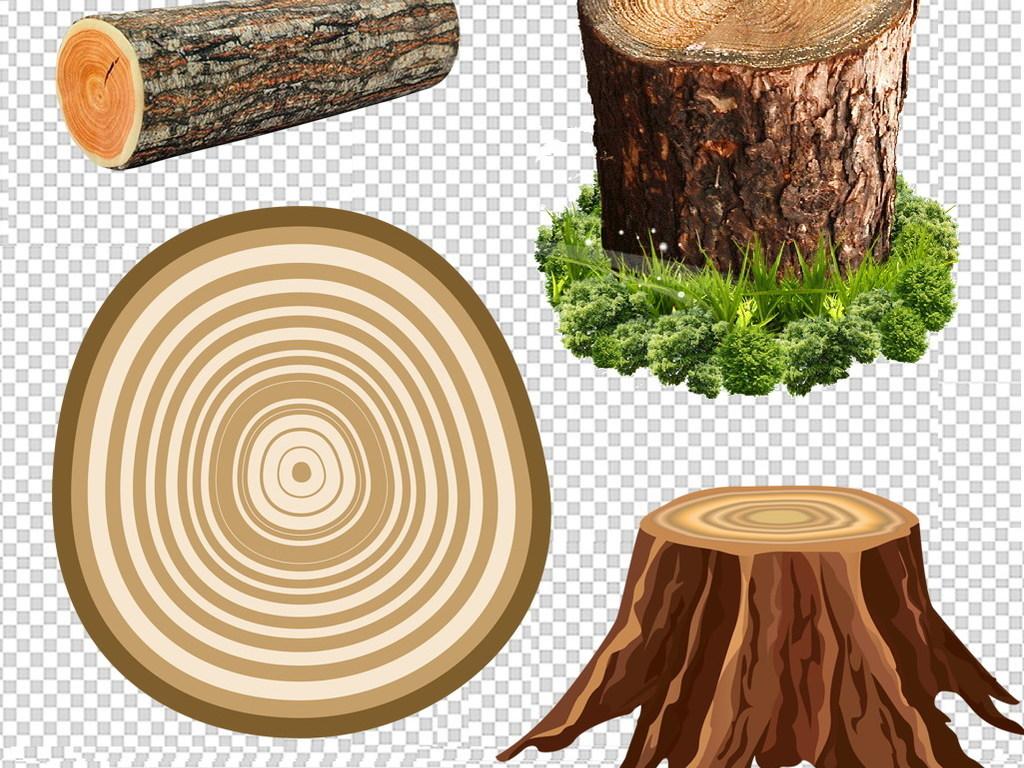 树桩树木年轮原木木桩手绘树桩png素材