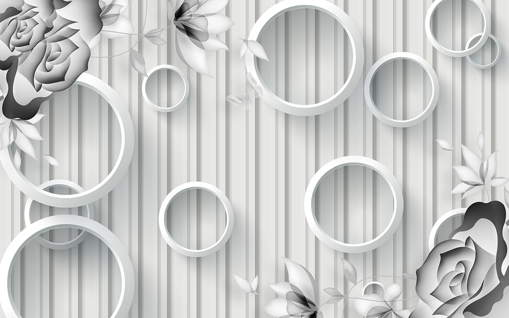 3d圆圈手绘玫瑰花黑白艺术电视背景墙