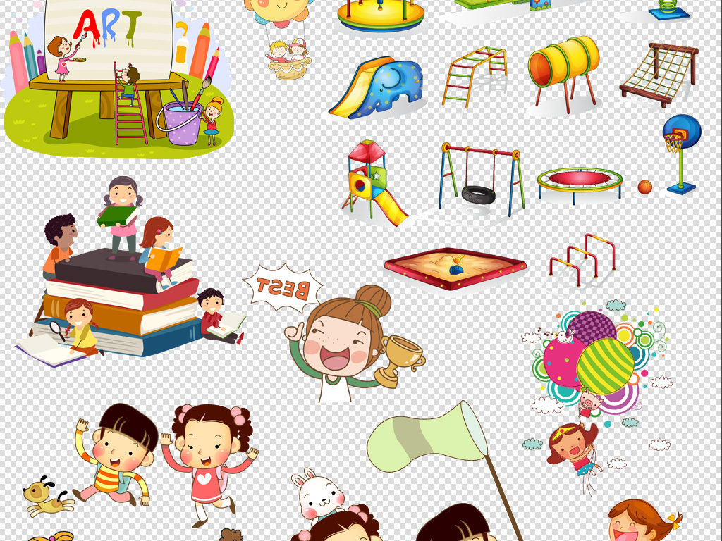 卡通儿童小学生幼儿园手绘玩耍背景png素材