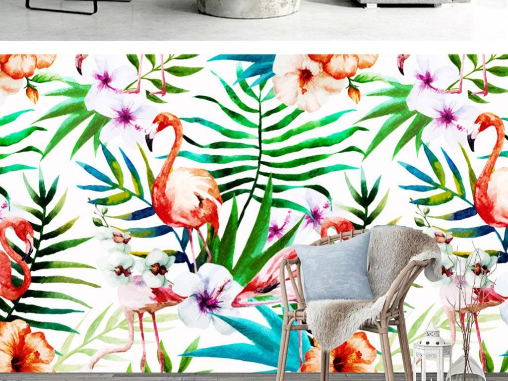 北欧清新手绘火烈鸟动物植物花卉装饰画背景墙