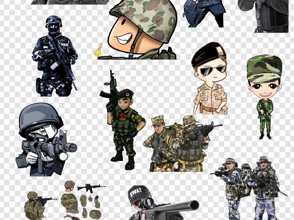 卡通特种兵军人png素材
