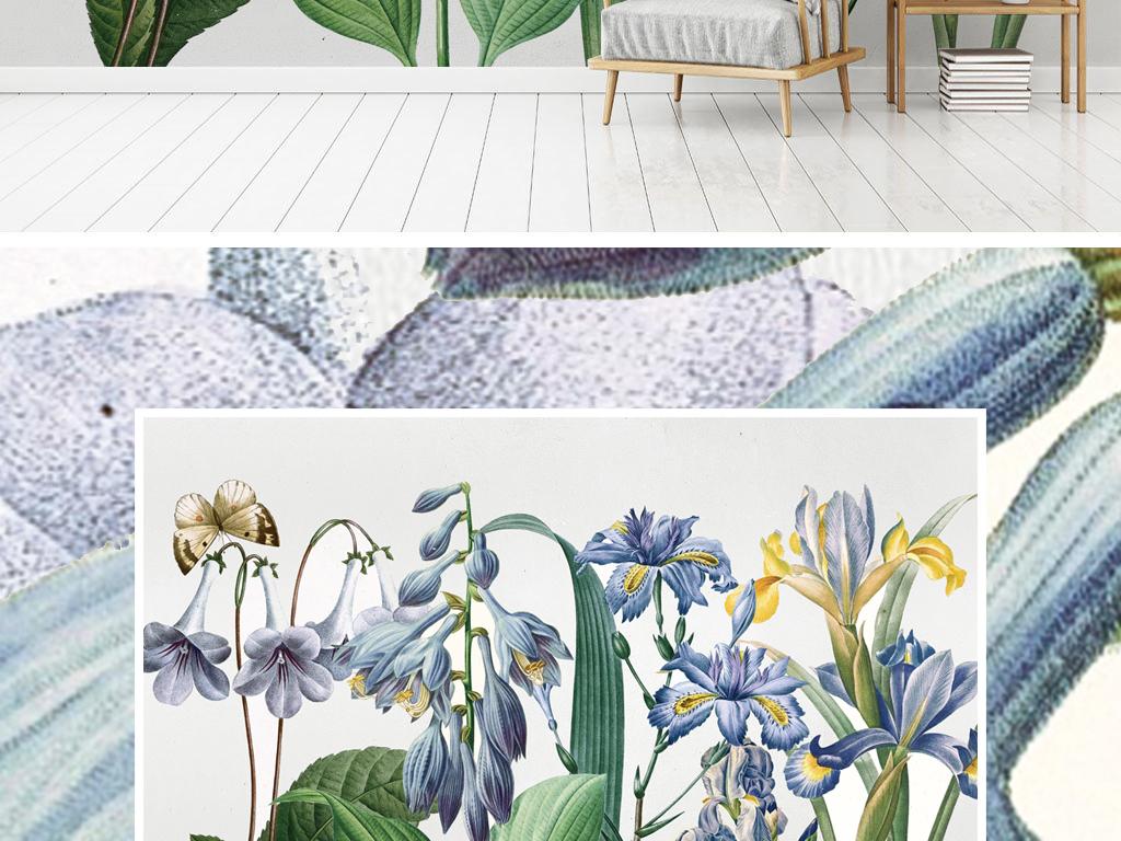 美式田园风怀旧手绘花卉背景墙壁纸壁画
