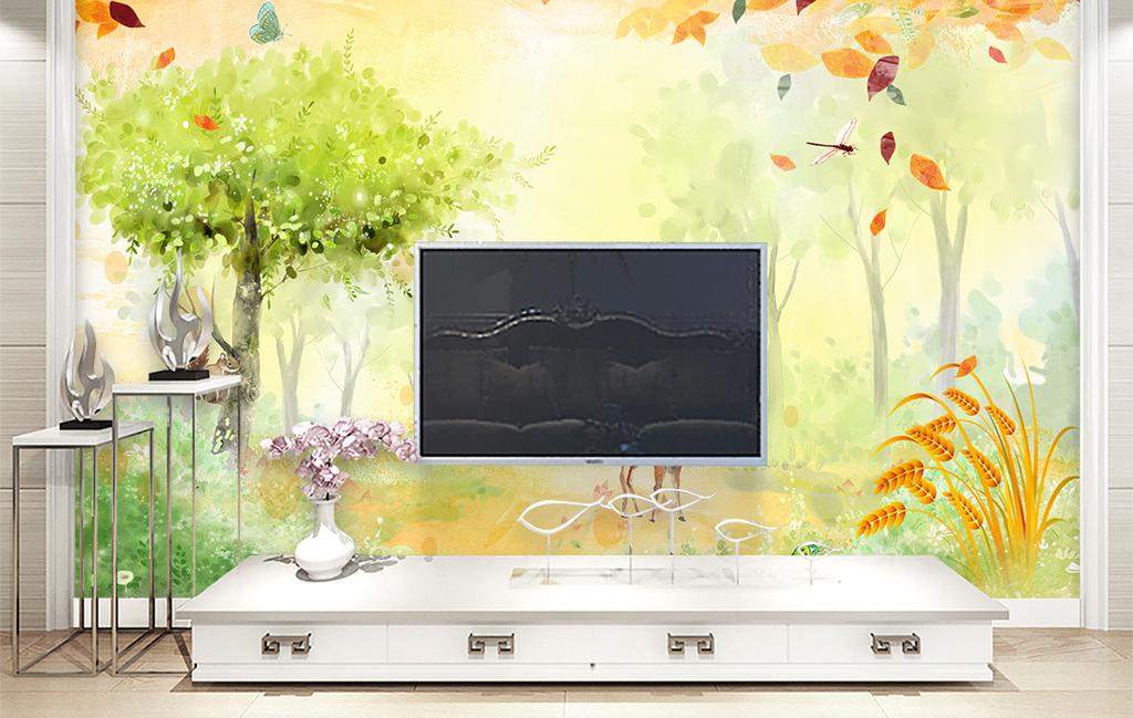 梦幻卡通森林背景墙(图片编号:17126662)_手绘电视墙