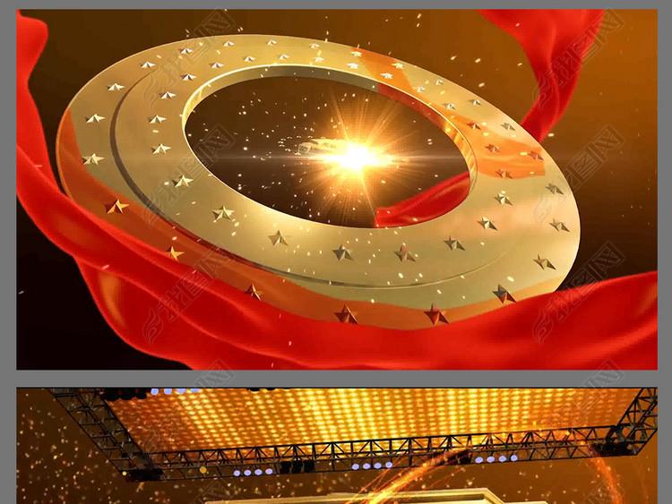 红色大气党的十九大党政晚会片头AE模版