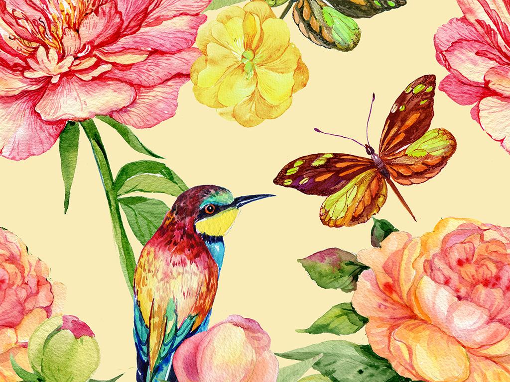 免抠元素 自然素材 花卉 > 高清免扣手绘水彩孔雀花鸟平铺图案设计