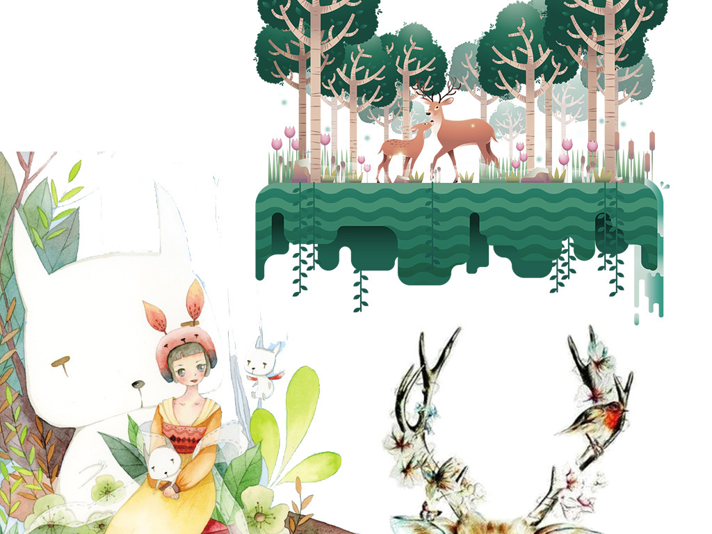 手绘水彩鹿头卡通动物创意艺术素材