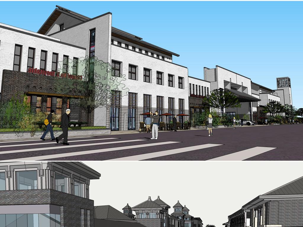 50款中式新中式商业街古镇规划su模型图片