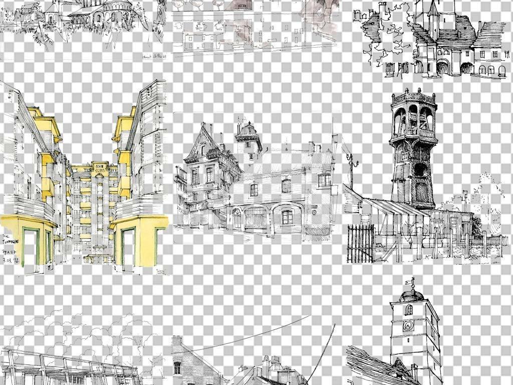 70余款手绘风格线描城市免扣素材图片下载png素材 装饰图案