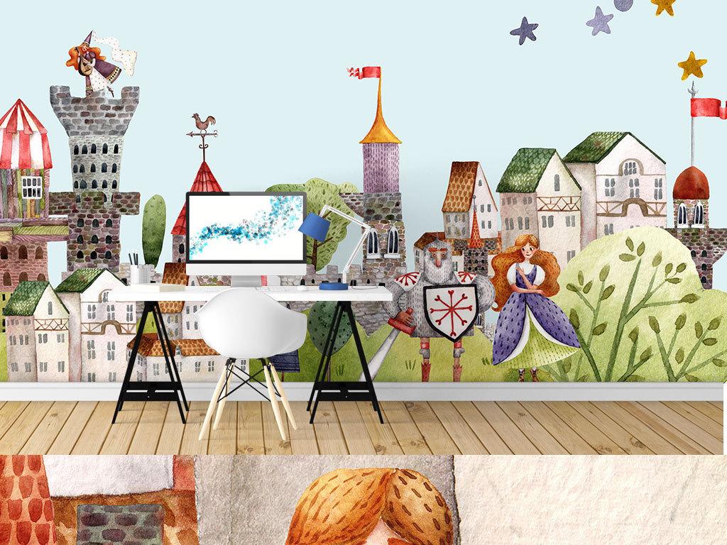 欧式童话城堡小镇手绘插画店铺背景墙