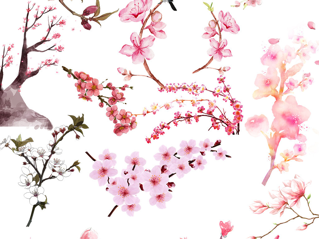 唯美古风水彩手绘粉色桃花桃树png素材
