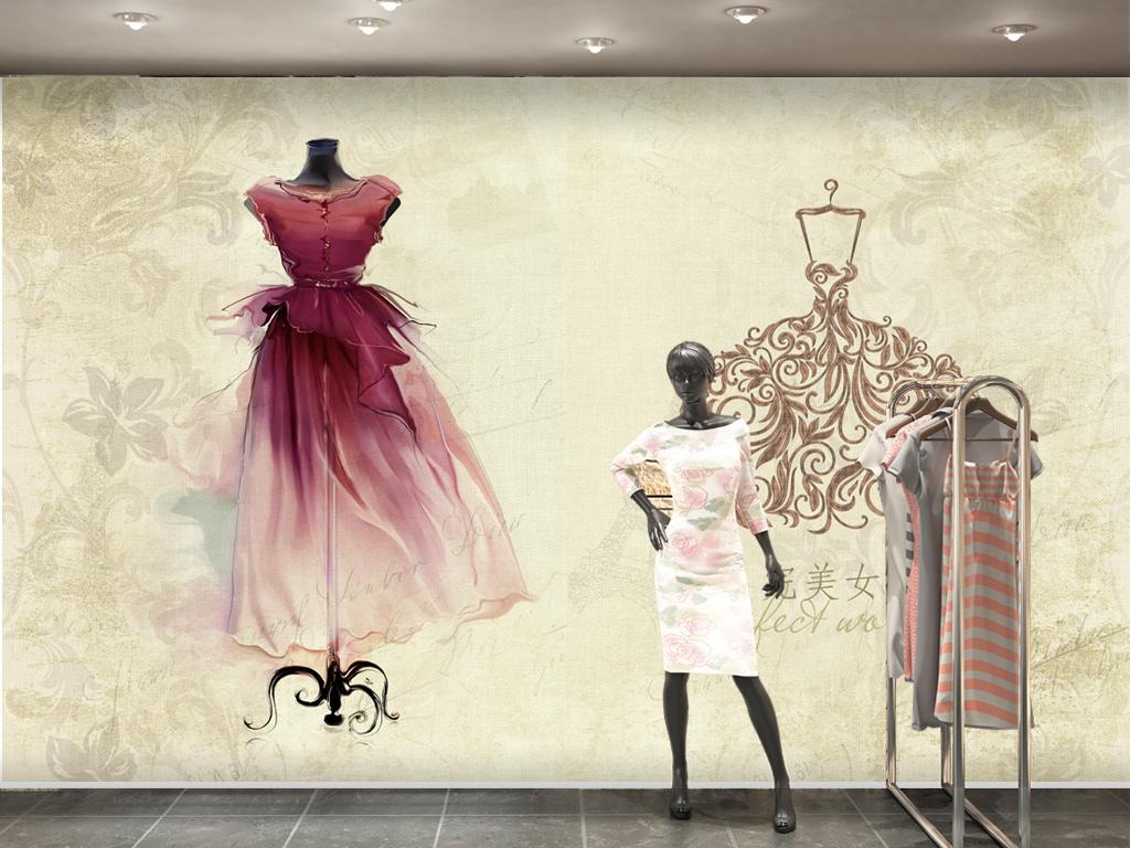 手绘婚纱礼服服装店女装店背景墙