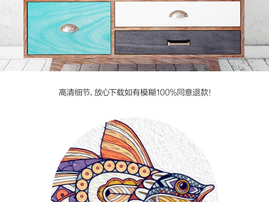 北欧简约手绘创意鱼装饰画背景壁画挂画