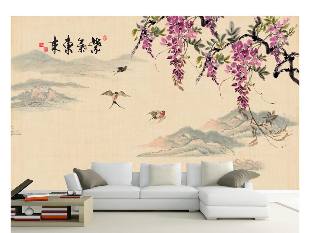 手绘水墨山水国画紫藤花紫气东来装饰画背景墙